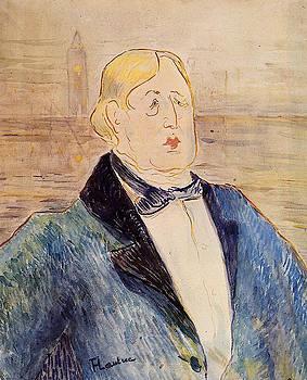 Oscar Wilde 1895 - PC - Painting - watercolor by Henri de Toulouse-Lautrec