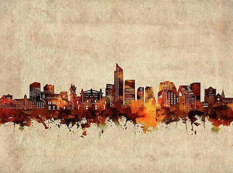 Oslo Skyline Sepia by Bekim Art