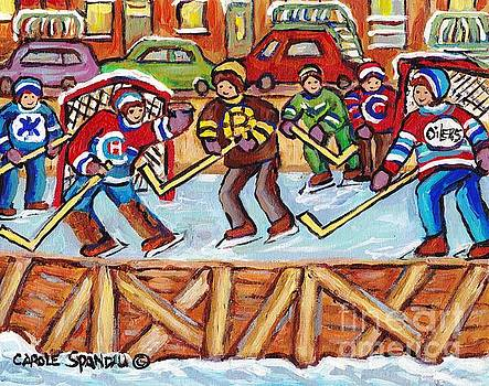 Outdoor Hockey Rink Verdun Row Houses Staircase Winter City Scene C Spandau Goalie Makes The Save    by Carole Spandau