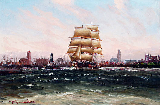 Alfred Jensen - Outgoing ships at the port of Wismar by Alfred Jensen