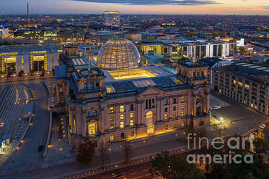 Over Berlin Reichstag Dawn by Mike Reid