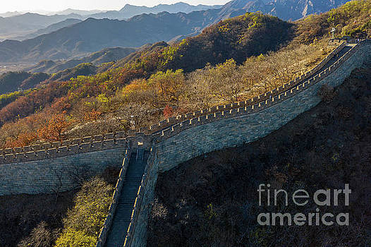 Over China Mutianyu Great Wall Fall Colors by Mike Reid