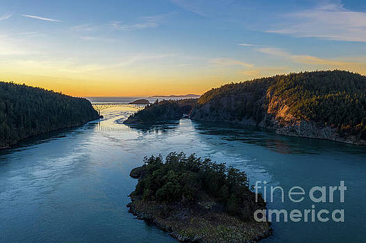 Over Deception Pass at Sunset by Mike Reid