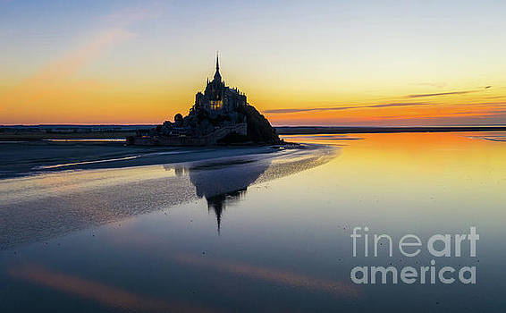 Over France Mont St Michel Sunset Reflection by Mike Reid