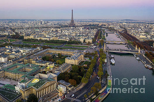 Over Paris Along the Seine to the Eiffel Tower  by Mike Reid