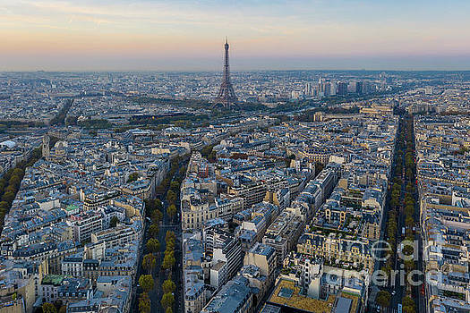 Over Paris Boulevards Lead to the Eiffel Tower by Mike Reid