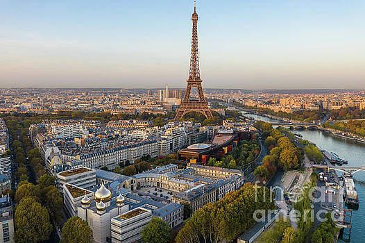 Over Paris Eiffel Tower and the 7th Arrondissement by Mike Reid