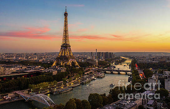 Over Paris Eiffel Tower Golden Sunset by Mike Reid