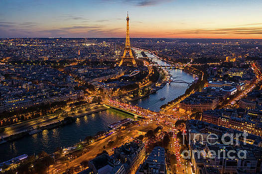 Over Paris Eiffel Tower Nightscape Along the Seine by Mike Reid