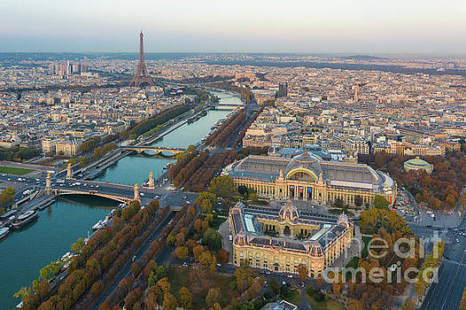 Over Paris Grand Palais Petit Palais and the Eiffel Tower by Mike Reid