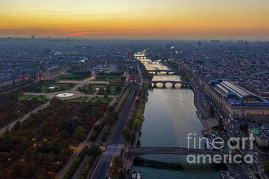 Over Paris Louvre and Orsay Museums by Mike Reid