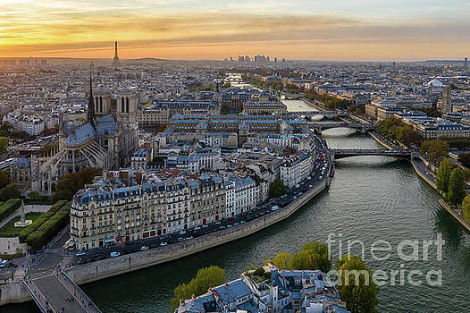Over Paris Notre Dame and the Seine at Dusk by Mike Reid