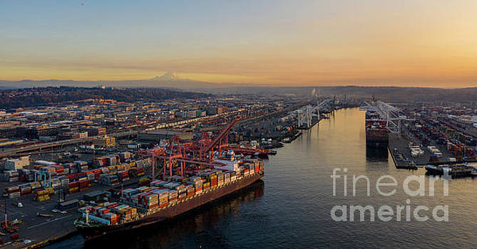 Over Seattle Port of Seattle Sunset by Mike Reid