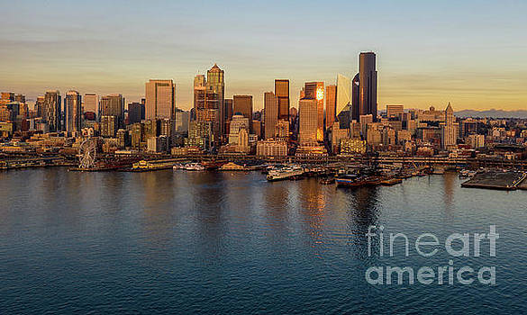 Over Seattle The Golden Skyline by Mike Reid