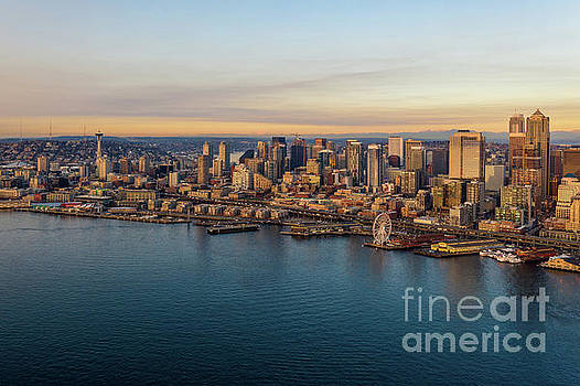 Over Seattle The Waterfront in Golden Sunset Light by Mike Reid