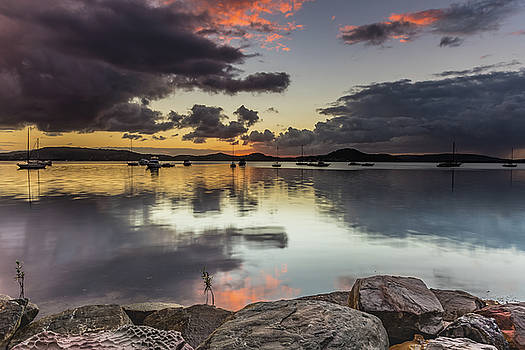 Overcast Waterscape with Hints of Colour by Merrillie Redden
