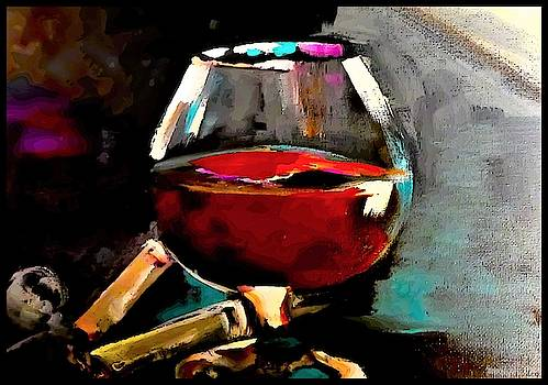 Overfill Snifter Of Brown Spirits  by Lisa Kaiser