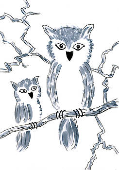 Owl and baby owl on tree branch by Steve Clarke
