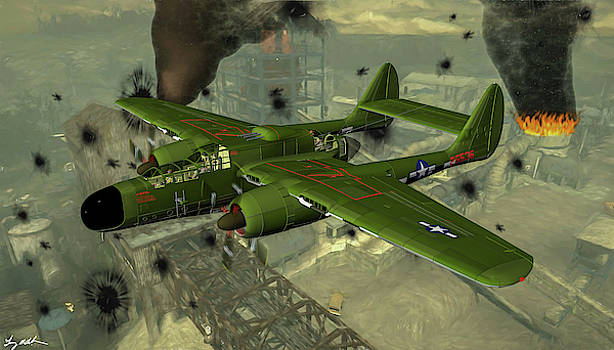 P-61 Black Widow over Europe - Oil by Tommy Anderson