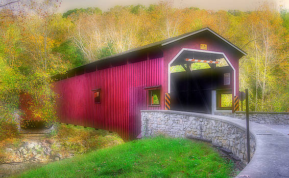 Pa Country Roads - Colemanville Covered Bridge Over Pequea Creek No. 1 - Soft Focus - Pequea, Pa by Michael Mazaika