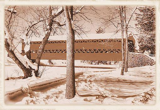 Pa Country Roads - Sachs Covered Bridge Over Marsh Creek, Winter, Sepia - Adams County by Michael Mazaika
