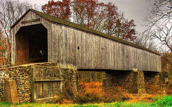 PA Country Roads - Schofield Ford Covered Bridge Over Neshaminy Creek No. 10b - Autumn Bucks County by Michael Mazaika