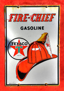 PA Country Roads - Vintage Texaco Fire Chief Sign No. 12 - Cruiser's Cafe, Mt. Pleasant Mills by Michael Mazaika