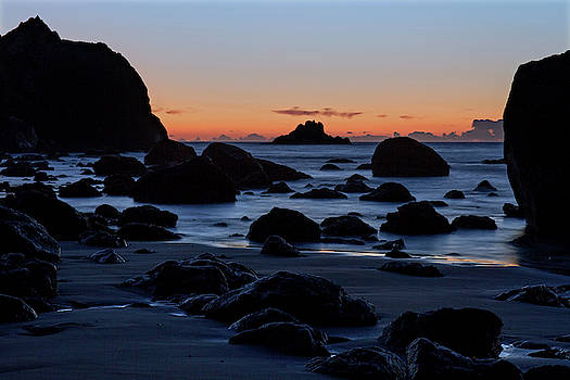 Pacific Rocks at Dusk by Fred Hood