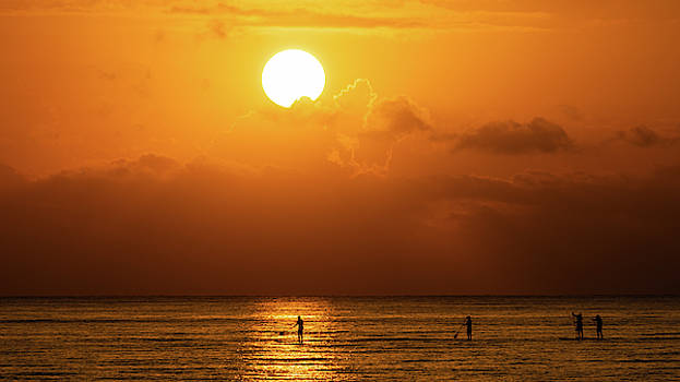 Paddle Board Sunrise Crew Delray Beach by Lawrence S Richardson Jr