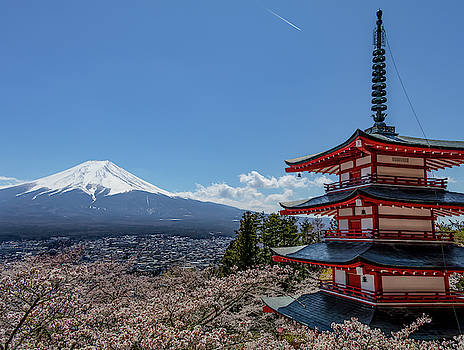 Pagoda in front of Mt. Fuji by Nate Richards
