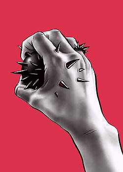 Painful Experiment With Stabbed Hand by Boriana Giormova