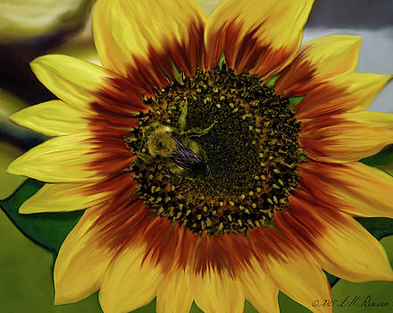 Painted Sunflower and Bee by Images Undefined