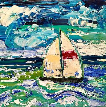 Palette Knife Sailboat by Roseann Amaranto