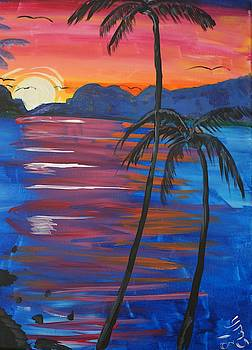 Palm Trees and Water by Yvonne Sewell
