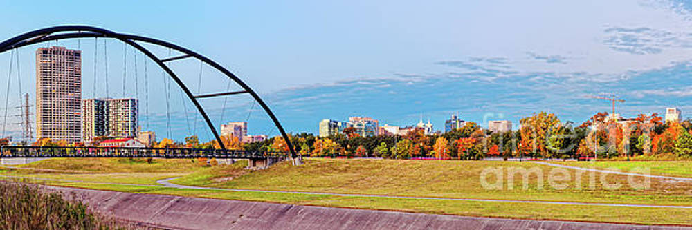 Panorama of Bill Coats Suspension Bridge, Texas Medical Center and Fall Foliage - Hermann Park HTX by Silvio Ligutti