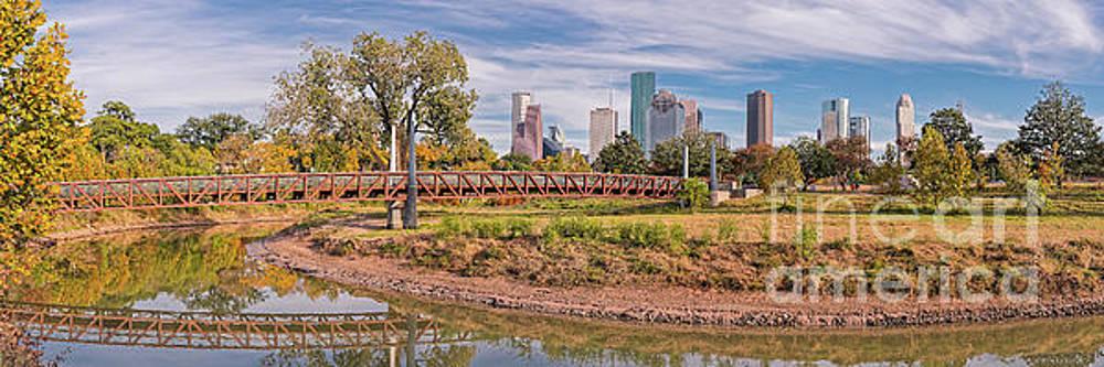 Panorama of Carruth Pedestrian Bridge - Buffalo Bayou - Downtown Houston Skyline in the Fall - Texas by Silvio Ligutti