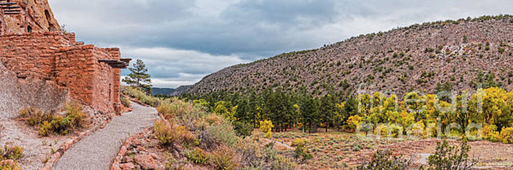 Panorama of Cliff Dwelling and Fall Cottonwoods in Frijoles Canyon - Bandelier National Monument  by Silvio Ligutti