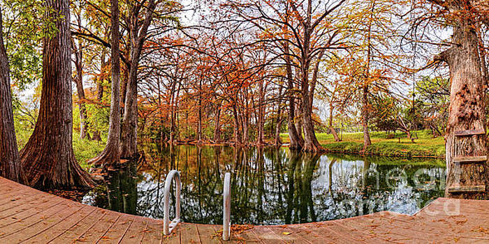 Panorama of Fall Scene at Blue Hole Regional Park - Wimberley Hays County Texas Hill Country by Silvio Ligutti
