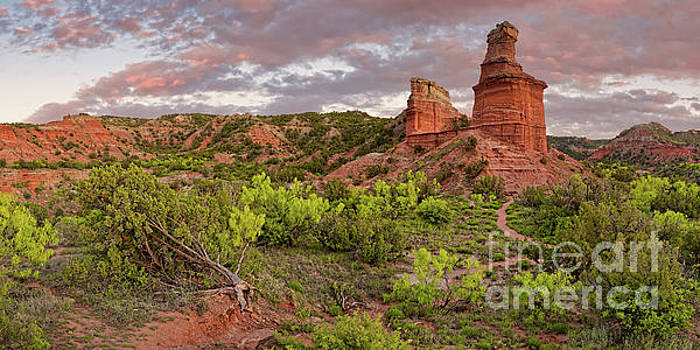 Panorama of Fiery Sunset Over Lighthouse Rock - Palo Duro Canyon State Park - Texas Panhandle by Silvio Ligutti
