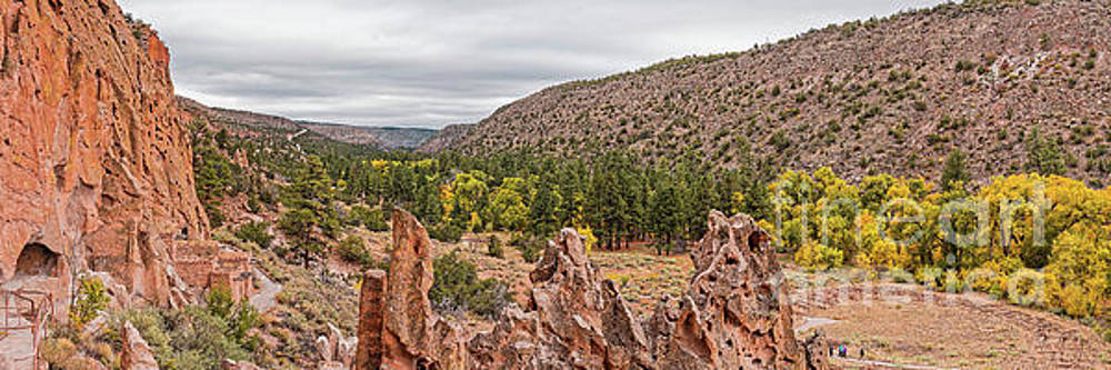 Panorama of Frijoles Canyon and Changing Cottonwoods - Bandelier National Monument New Mexico by Silvio Ligutti
