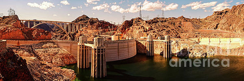 Panorama of Hoover Dam Black Canyon and Colorado River - Nevada Arizona Mojave Desert by Silvio Ligutti