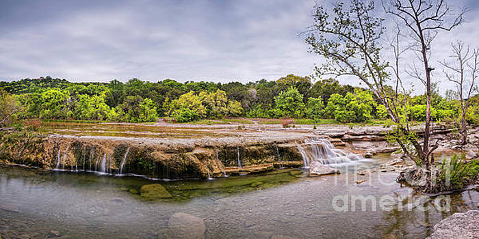 Panorama of Link Falls At Upper Bull Creek District Greenbelt Park - Austin Texas Hill Country by Silvio Ligutti