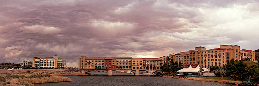 Panorama of Ominous Storm Clouds Over Lake Las Vegas - Henderson Nevada  by Silvio Ligutti
