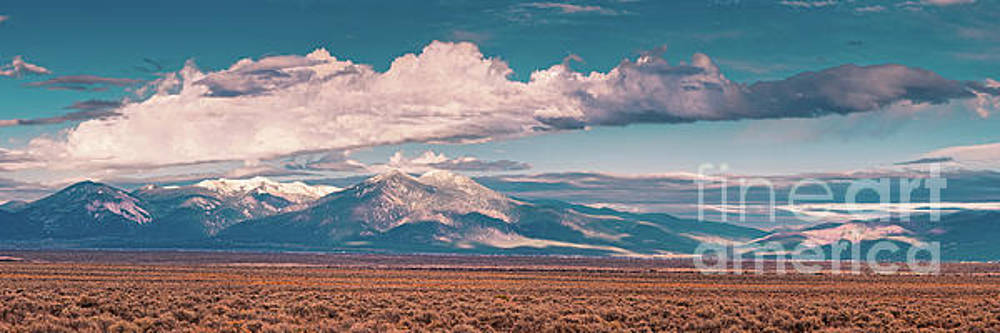 Panorama of Sangre de Cristo Mountains Mount Wheeler Taos Mountain - New Mexico Land of Enchantment by Silvio Ligutti