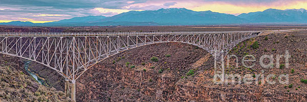 Panorama of the Rio Grande del Norte Gorge Bridge and Sangre de Cristo Mountains - Taos New Mexico by Silvio Ligutti