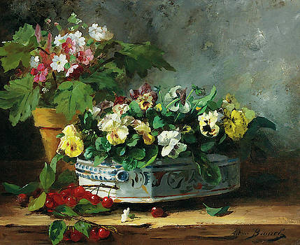 Pansies And Primroses by Alfred-Arthur Brunel de Neuville
