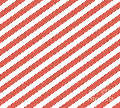 Pantone Living Coral Stripes Fat Angled Lines - Stripes by Melissa Fague