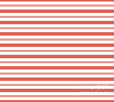 Pantone Living Coral Stripes Thick and Thin Horizontal Lines by Melissa Fague