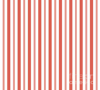 Pantone Living Coral Stripes Thick and Thin Vertical Lines 2 by Melissa Fague