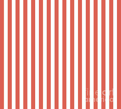 Pantone Living Coral Stripes Thick Vertical Lines by Melissa Fague